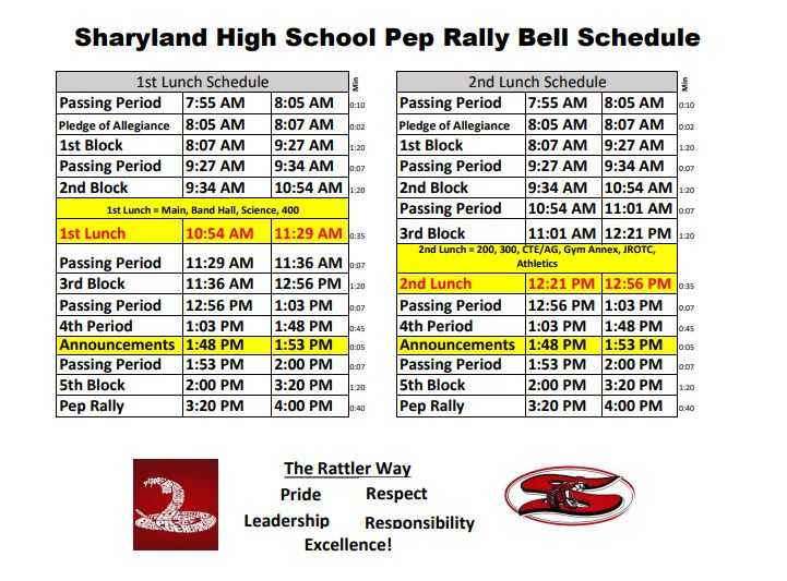 pep rally schedule